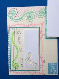 An envelope I decorated for the card I made
