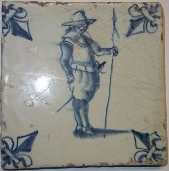 Hand Painted  Delft Tile  ~  17th Century