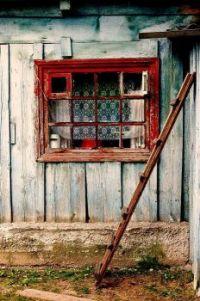 Weathered Wood - Red Window