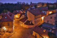 Early night street with old houses in Prague, Czech Republic
