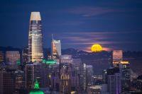 Moon rising above San Francisco, California