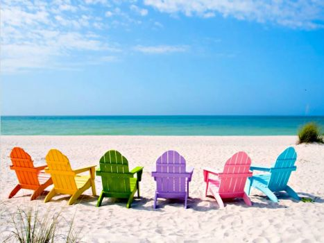 Pretty chairs for relaxing on the beach