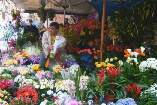 Flowers for sale in Florence, Italy