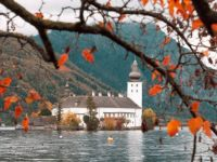 Castle Ort On Traunsee Lake, Gmunden, Austria
