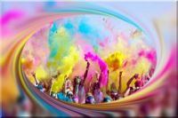Colored powder thrown in Budapest religious festival!