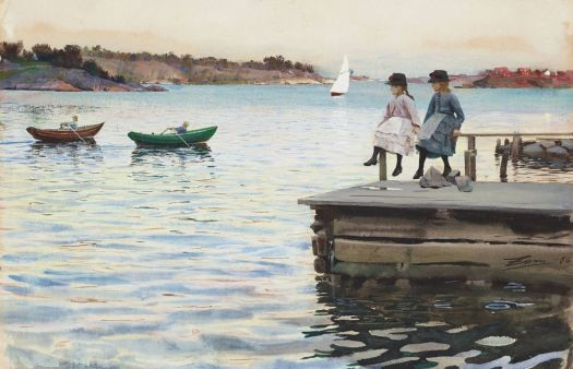 "Anders Zorn, ""A boat race between two boys at the island of Dalarö"""