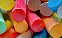 coloured chalk to beautify the streets