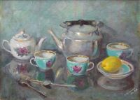 Painting of a russian tea set