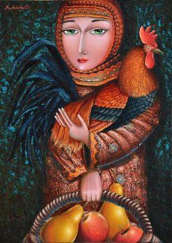 Georgian Woman with a Rooster - Zurab Martiashvili, Artist