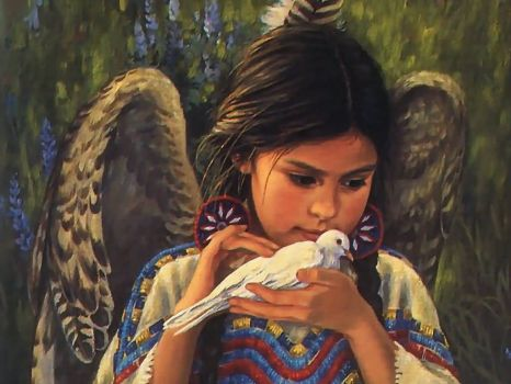 Native Angel with Bird of Love