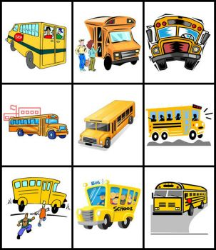 Theme, yellow: school buses
