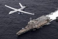 USS Coronado LCS-4 with an MQ-9 Sea Guardian drone