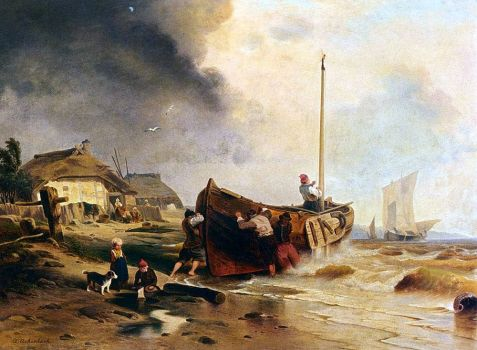 A Fishing Boat on the Beach by Andreas Achenbach