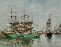Eugène Boudin (French, 1824–1898), Three-Masters at Port (ca 1880–1885)
