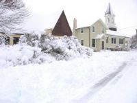corner church in the snow