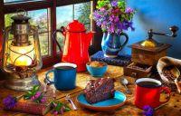 flowers, style, books, lamp, coffee, bouquet, window, lantern
