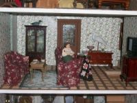 close up of bird carvers doll house