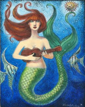 Whimsical Mermaid Playing Ukelele