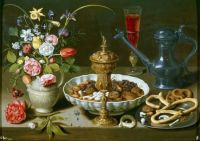 Still Life with Flowers, Goblet, Dried Fruit, and Pretzels, 1611, Clara Peeters (b.1594)