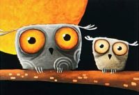 OWLS AND GOLDEN MOON