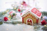Christmas dog house cake