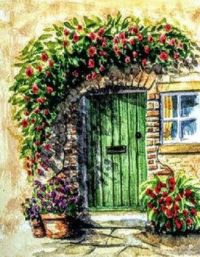Green door,  and pretty flowers! watercolour painting .