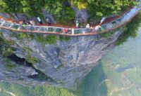 Glass skywalk nearly 1000 ft. up on Panlong Cliff in China