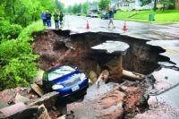 Duluth flooding - Skyline Parkway sinkhole