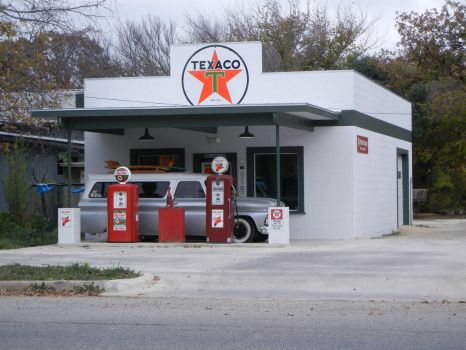 Texaco Station on residential street in Kerrville Texas