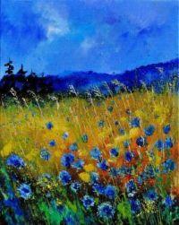 Cornflowers and Wheat Field