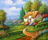 English Country Cottage oil painting