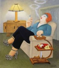 beryl cook- Enjoying a Ciggy