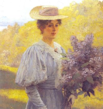Young Woman with Lilacs by Hans Gude