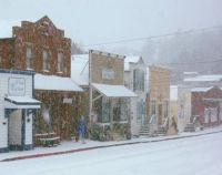 Downtown Coupeville WA in Snow