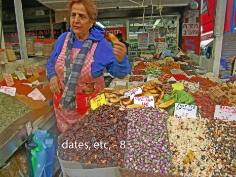 Dates and other goodies at Tel Aviv market, Dec, 2016