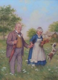 Themes Vintage illustrations/pictures - Sweet old Couple