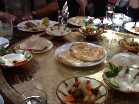 Before the entrees came, we had the appetisers with pita bread