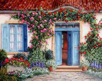 Cottage with open blue door
