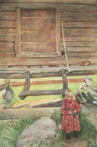 "Carl Larsson, ""Rättvik Girl By Wooden Storehouse"""
