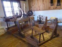 The old times Museum Aalten. Spinningwheel, racking to get linen, woolmaking.