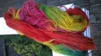 Handdyet yarn - red-orange-yellow-green