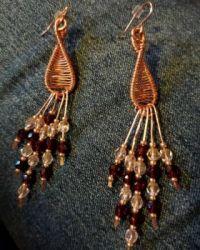 copper wirewrap earrings