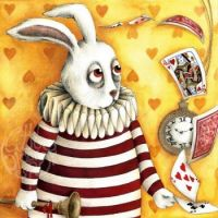 Wonderland Striped White Rabbit