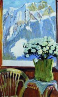 Flowers on the balcony with a background of mountains  - Květiny na balkoně s pozadím hor - 1912