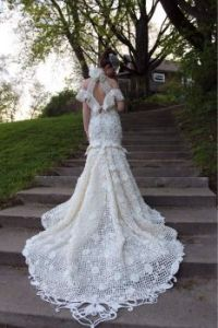 A bride in a Crochet Gown