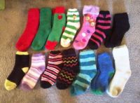 Daughter's fuzzy sock collection