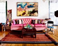 Pink Couch on Boho Rug