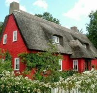 Thatched Cottage in Red