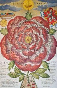 Rose shaped Map of Bohemia, 1677