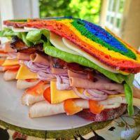 Pride sandwich on homemade rainbow sourdough